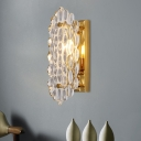 Modern 1 Head Sconce Light with Cut Crystal Shade Gold Panel Wall Mounted Lighting with Rectangle Backplate