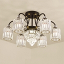 Modern Cylindrical Shade Semi Flush Clear Crystal 6/11 Bulbs Ceiling Light Fixture in Black
