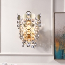 Hexagon Flush Wall Sconce Modern Cut Crystal 3 Lights Champagne Wall Mounted Lighting for Study Room