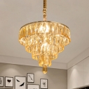 Tapered Tiers Kitchen Drop Lamp Contemporary Clear Beveled Cut Crystal 4-Bulb Chandelier Pendant