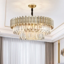 Gold 3 Tiers Chandelier Lighting Contemporary 9 Bulbs Crystal Rectangle Ceiling Suspension lamp