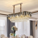 Oval-Shape Restaurant Island Light Smoke Gray Crystal Block 10-Bulb Contemporary Hanging Pendant in Gold