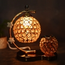 Faceted Crystal Globe LED Desk Light Modern Style Night Table Lamp in Gold with Bent Arm Frame