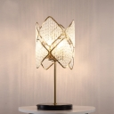 Contemporary LED Table Light with Crystal Strand Shade Rhombus Nightstand Light in Chrome/Gold
