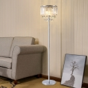 Drum Sitting Room Floor Lamp Crystal Block LED Modern Standing Light in Chrome with Droplet