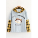 Fashionable False Two Piece Plaid Printed Patched Long Sleeve Drawstring Letter First Meeting Cat Graphic Relaxed Hoodie