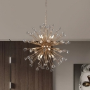 Contemporary Dandelion Hanging Pendant Faceted Crystal 12-Light Chandelier Lighting in Gold