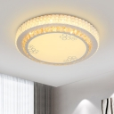 Floret/Circle/Rhombus Flush Mount Fixture Modern Faceted Crystal LED White Close to Ceiling Lamp in Warm/White Light