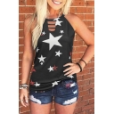 Summer Allover Star Printed Hollow out Sleeveless Crew Neck Regular Fit Tank Top for Womenv