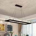 Black Rectangle LED Island Lamp Modern Hand-Cut Crystal Suspension Lighting in Warm/White Light, 23.5