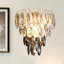 Cascading Wall Lighting Modern Style Faceted Crystal 3 Heads Bedside Surface Wall Sconce in Chrome
