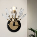 Icicle Shape Crystal Wall Sconce Modernism 1 Light Black and Gold Wall Mount Light Fixture