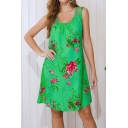 Novelty Floral Printed Cut Out Sleevless Scoop Neck Short Swing Tank Dress for Women