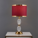 Crystal Oval Night Lighting Traditional 1-Light Bedroom Nightstand Lamp in Red/Beige with Drum Fabric Shade