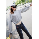 Grey Trendy Blouson Sleeve Crew Neck Ruched Baggy Pullover Sweatshirt for Girls
