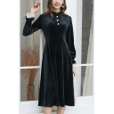 Vintage Girls Velvet Lace Trimmed Long Sleeve Stand Collar Pearl Button Mid Pleated A-line Dress in Black
