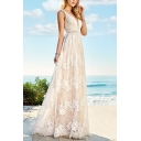Glamorous Womens White Lace Sleeveless Deep V-neck Backless Long Flowy Gown