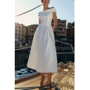 Elegant Womens Off the Shoulder Mid Flared Evening Dress in White