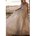 Womens Gorgeous Hot Stamping Sleeveless Plunge Neck Sheer Maxi Pleated Flowy Gown in Pink
