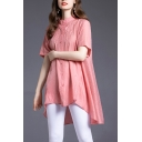 Leisure Flower Embroidered Linen and Cotton Short Sleeve Collarless Button-up High Low Hem Loose Fit Shirt in Ladies