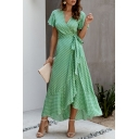 Gorgeous Womens Ditsy Floral Print Bow Side Asymmetric Ruffle Trim V Neck Short Frill Sleeve Long Wrap Dress
