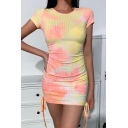 Pretty Girls Tie Dye Patterned Drawstring Sides Short Sleeve Crew Neck Mini Fitted Dress in Yellow