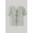 Pretty Girls Plain Printed Puff Sleeve Square Neck Bow Tied Front Relaxed Fit Shirt Top