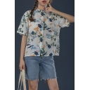 Hawaii Girls Allover Flower Printed Short Sleeve Spread Collar Button-up Chest Pocket Relaxed Shirt Top in White