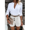 Elegant Ladies Solid Color Linen Long Sleeve V-neck Relaxed Fit Shirt Top