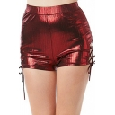 Sexy Ladies Solid Color Lace-up Sides Slim Fitted Shorts for Party
