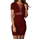 Pretty Womens Solid Color Short Sleeve Hollow out Short Bodycon Dress