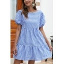 Blue Reversible Plaid Print Button Detail Ruffle Hem Pleated Round Neck Short Puff Sleeve Mini Swing Smock Dress for Women