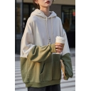Casual Color Block Figure Pattern Drawstring Kangaroo Pocket Long Sleeve Oversize Hooded Sweatshirt