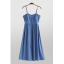 Trendy Womens Solid Color Button Up Pleated Spaghetti Straps Sleeveless Midi Cami Dress in Blue