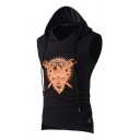 Summer Fashion Tribal Skull Printed Sleeveless High Low Fitted Drawstring Gilet Waistcoat Hoodie