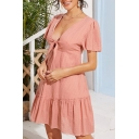 Pink Fancy Polka Dot Printed Hollow Out Tie Front Stringy Selvedge Pleated Deep V Neck Butterfly Sleeve Mini A-Line Dress for Women