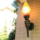 Amber Glass Black Wall Mount Lamp Hand Holding Torch 1 Light Antique Wall Lighting Ideas