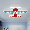 Cartoon LED Ceiling Light Fixture with Acrylic Shade Blue and Red Airplane Flush Mount