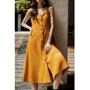Women's Sexy Lace-Trim V Neck Sleeveless Button Down Simple Plain Maxi Cami Dress