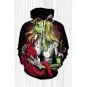 Mens 3D Hooded Sweatshirt Trendy Beauty Ripped Monster Pattern Cuffed Drawstring Long Sleeve Regular Fit Hooded Sweatshirt