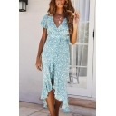 Popular Ditsy Floral Printed Butterfly Sleeves Surplice Neck Bow Tied Waist Ruffled Mid Wrap Dress in Light Blue