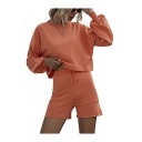Popular Womens Long Sleeve Crew Neck Relaxed Crop T Shirt & Fitted Shorts Set in Orange