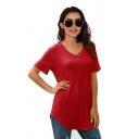 Leisure Solid Color Short Sleeve V-neck Curved Hem Loose Fit T Shirt for Women