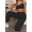Stylish Solid Color Round Neck Hollow Out Back Regular Cropped Tank Top & Relaxed Fit Pants Set