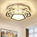 Tiered Pentagon Ceiling Mounted Light Modern Clear Crystal LED Bedroom Flushmount in Warm/White Light