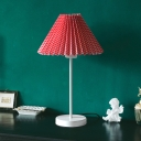 Cone Night Table Lamp Minimalism Pleated Paper 1 Light Red/Yellow Desk Lighting with Plaid Pattern