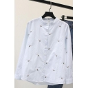 White Simple Floral Embroidered Ruffled Collar Long Sleeve Button Down Cotton Shirt