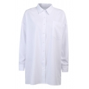 Trendy Womens White Long Sleeve Spread Collar Button-up Oversize Shirt Top