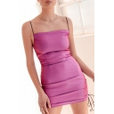 Fancy Womens Spaghetti Straps Drawstring Sides Mini Tight Cami Dress in Rose Red