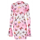 Edgy Girls Allover Butterfly Printed Bell Long Sleeve Crew Neck Mini Sheath Dress in White